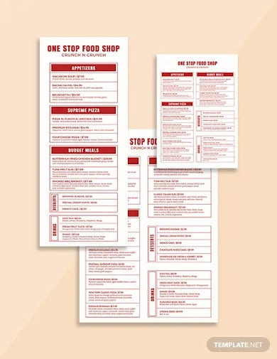 food and beverage menu template