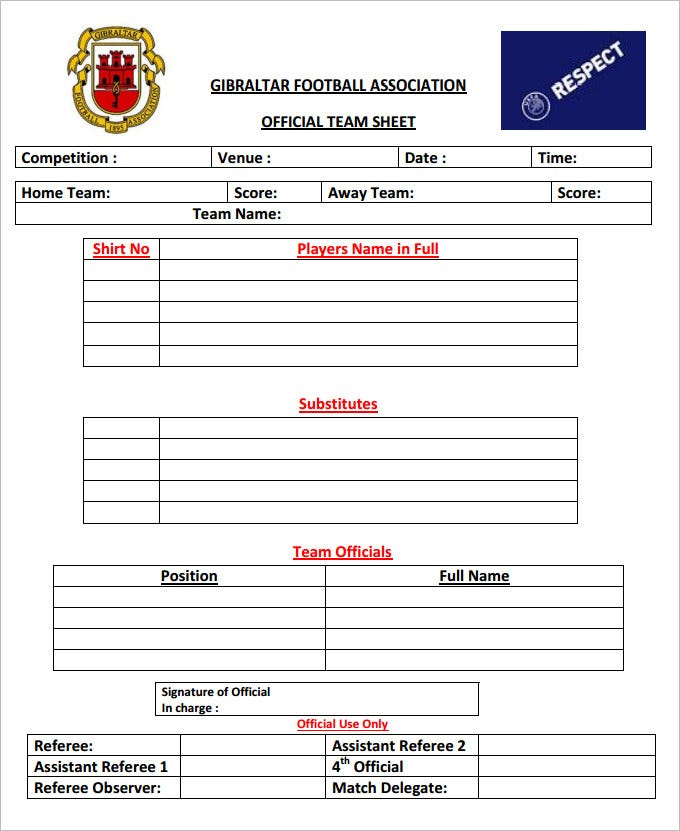 foot ball team sheet template free download pdf