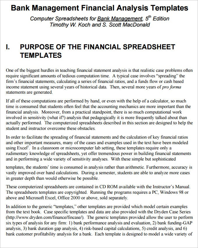 Financial Analysis Templates 7 Free Word Excel PDF Documents – Financial Analysis Template