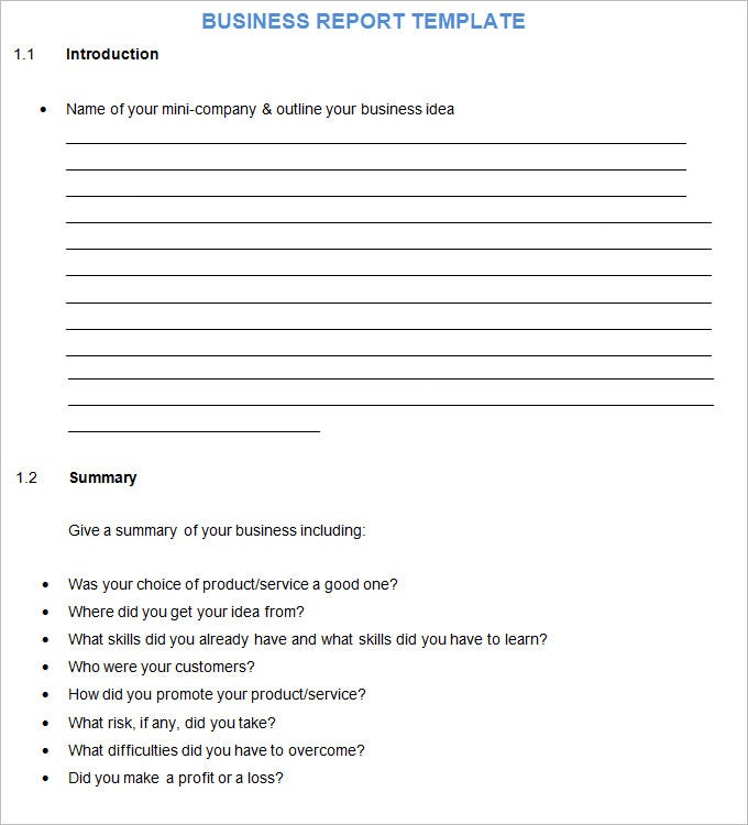 Business Report Template  Free Word Documents Download  Free