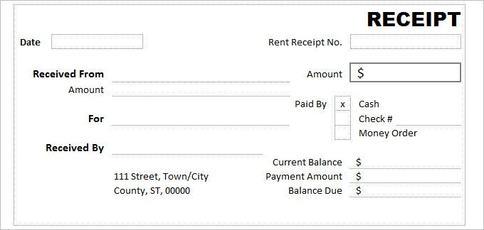 cash receipt form word