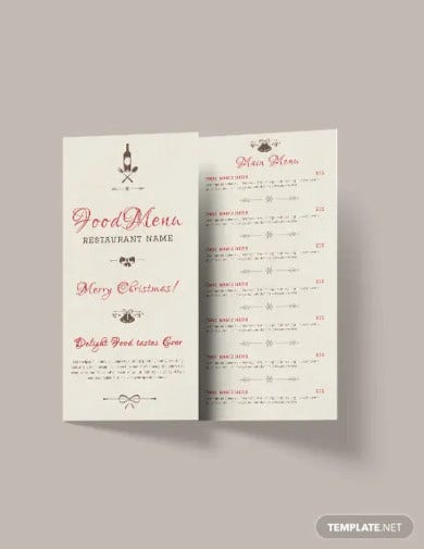 free christmas tri fold menu brochure template