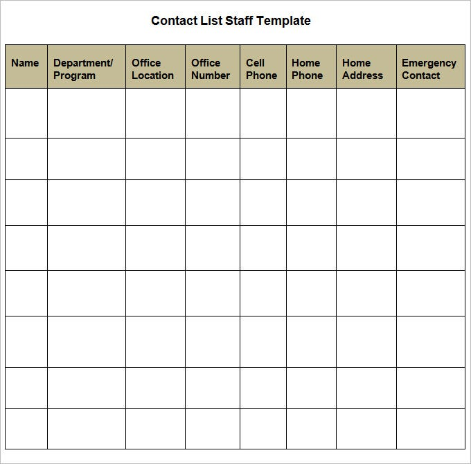 Contact List Template 4 Free Word PDF Documents Download – Contact List Templates