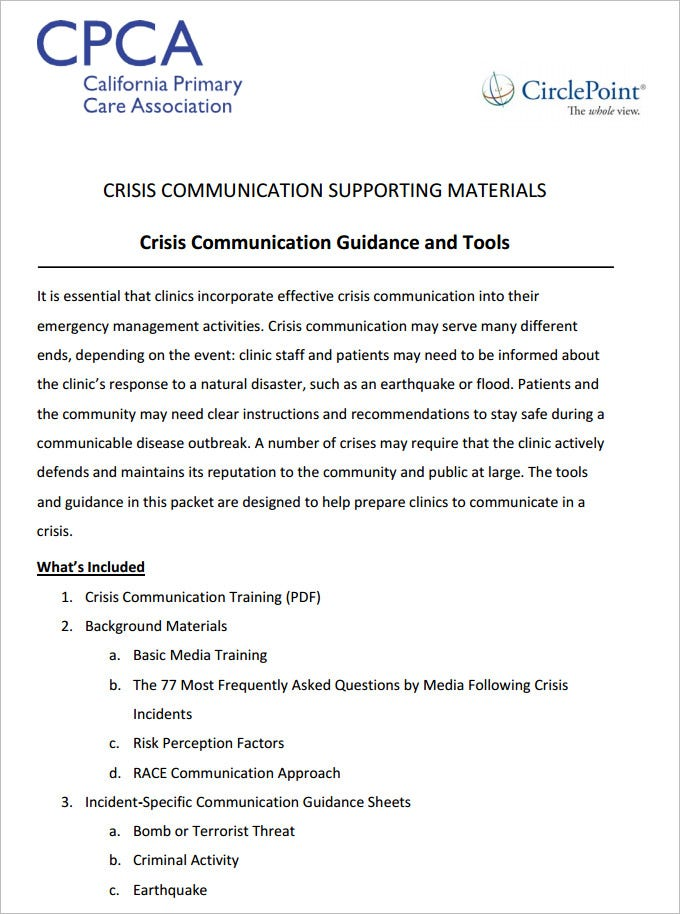 Crisis Communication Plan Template   Free Word Documents Download