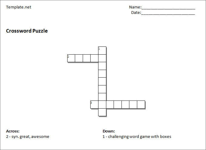 free crossword puzzle including clues