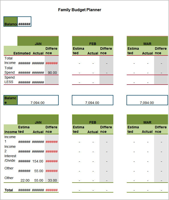 Family Budget Template Excel