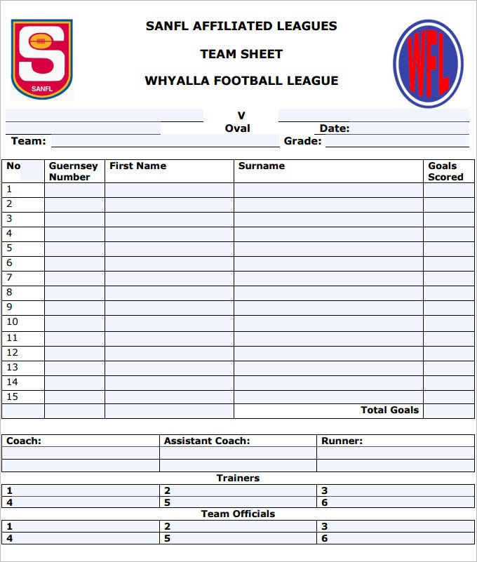 sports team roster template - football team sheet template 5 free pdf documents