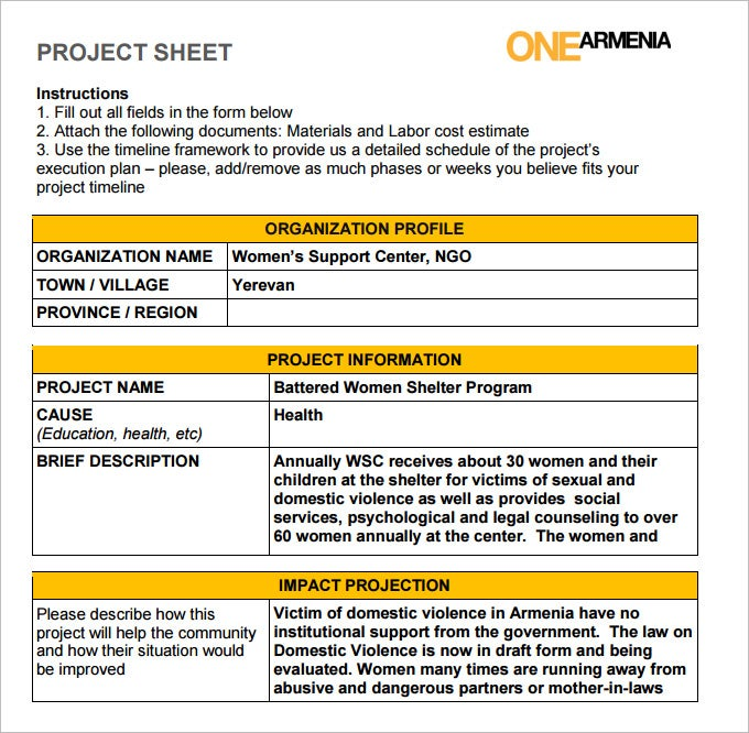 Project Sheet Template   Free  Documents Download  Free