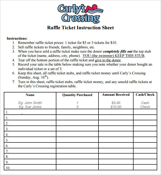 Sample Raffle Sheet. Call Sheet Template Free Download Raffle