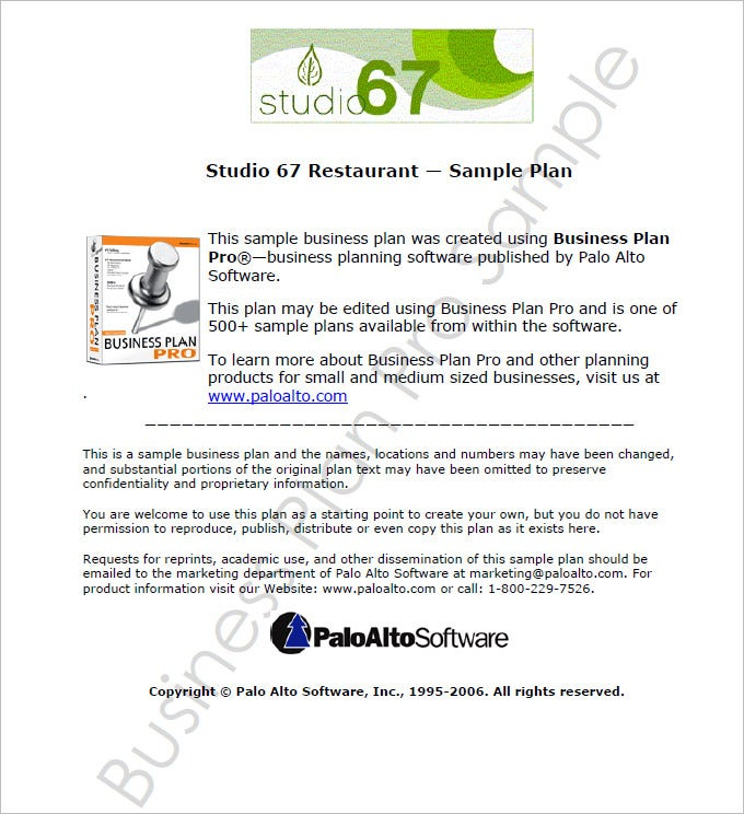 Free Download Restaurant Business Plan Template PDF