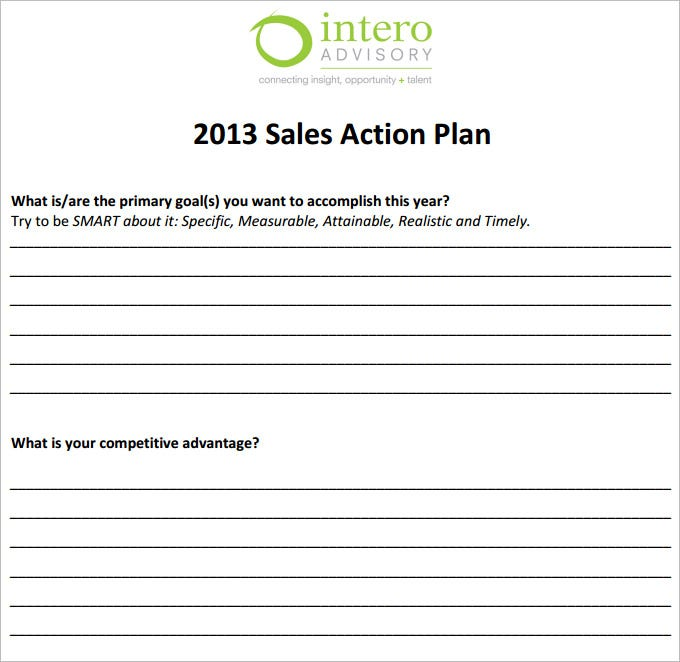Sample Smart Action Plan Sales Action Plan Free Action Plan