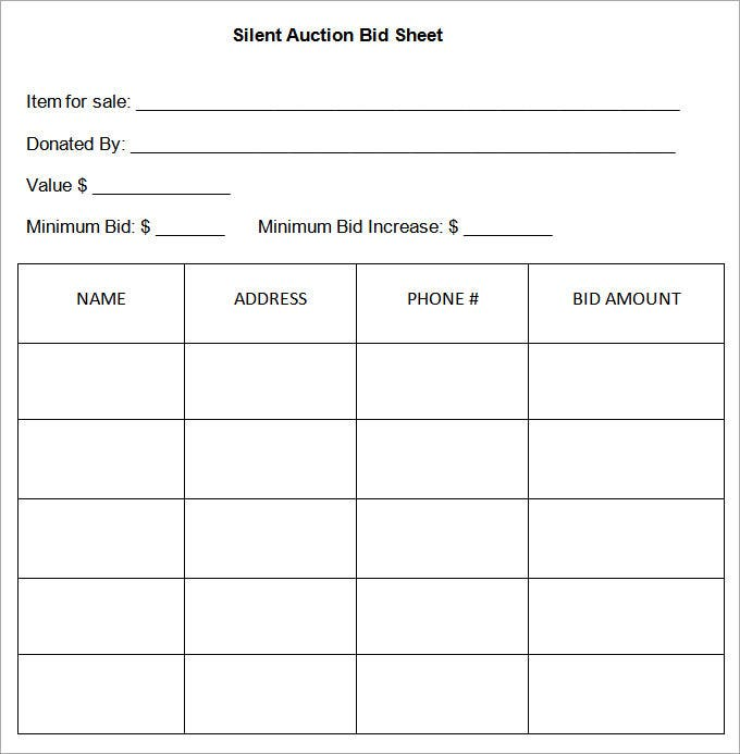 sample of silent auction bid sheet