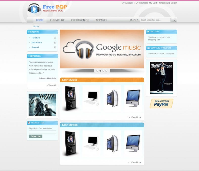 free ecommerce website templates free premium templates. Black Bedroom Furniture Sets. Home Design Ideas