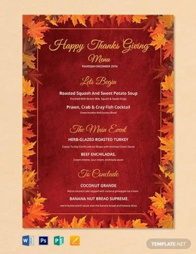 free happy thanksgiving menu template