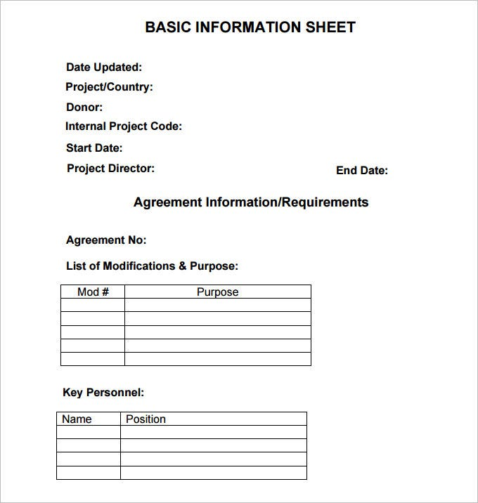 Basic Information Sheet Template  Info Sheet Template