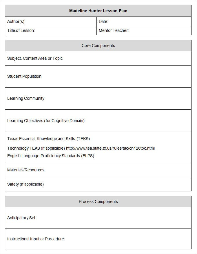 Madeline Hunter Lesson Plan Template Madinbelgrade - Word document lesson plan template