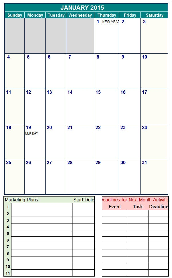 Marketing Calendar Template   3 Free Excel Documents Download cn15Ttgf