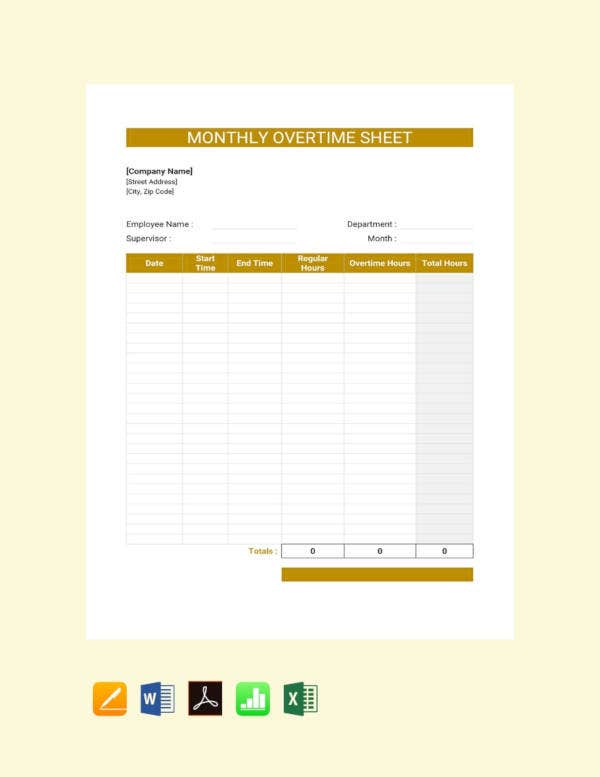 free monthly overtime sheet template