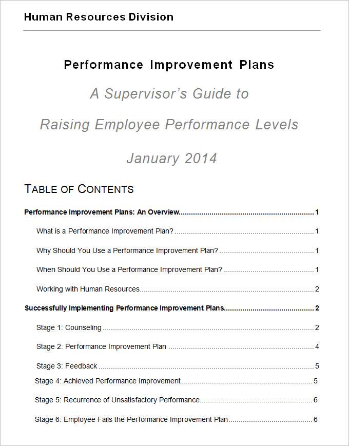 performance improvement plan template .