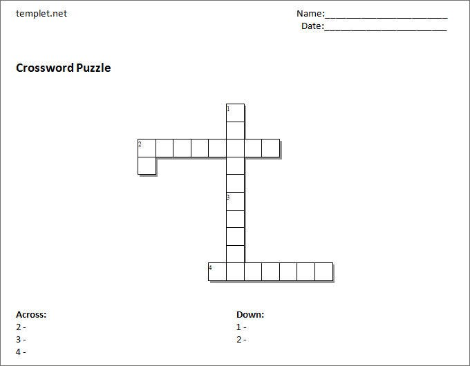 picture about Free Printable Cross Template known as 15+ Blank Crossword Template - Crossword Template Cost-free