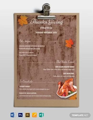 free printable thanksgiving menu template