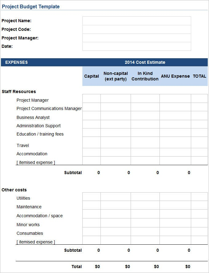 Project Budget Template   Free Word Pdf Documents Download
