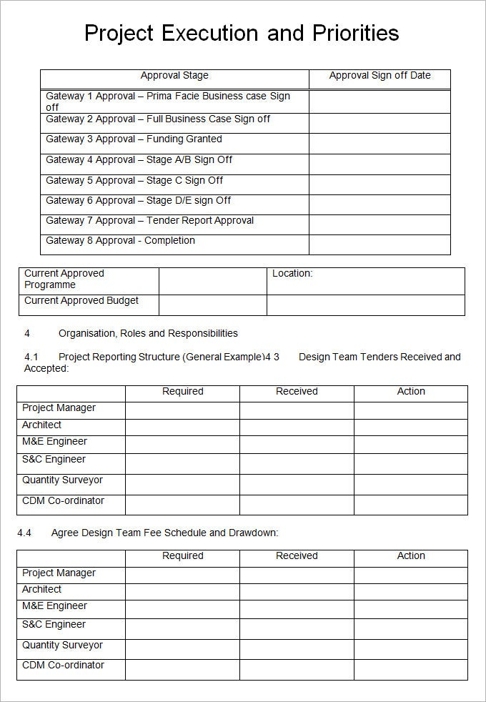Project Execution Plan Template 4 Free Word Pdf Excel – Sample Project Plan