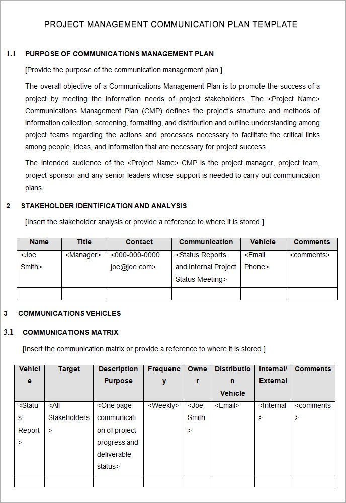 Project Management Communication Plan Template 5 Free Word Pdf – Project Management Plan