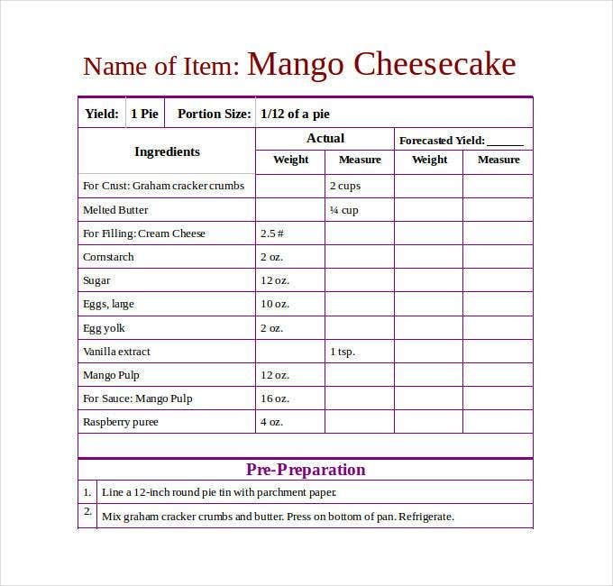 free editable recipe template for microsoft word