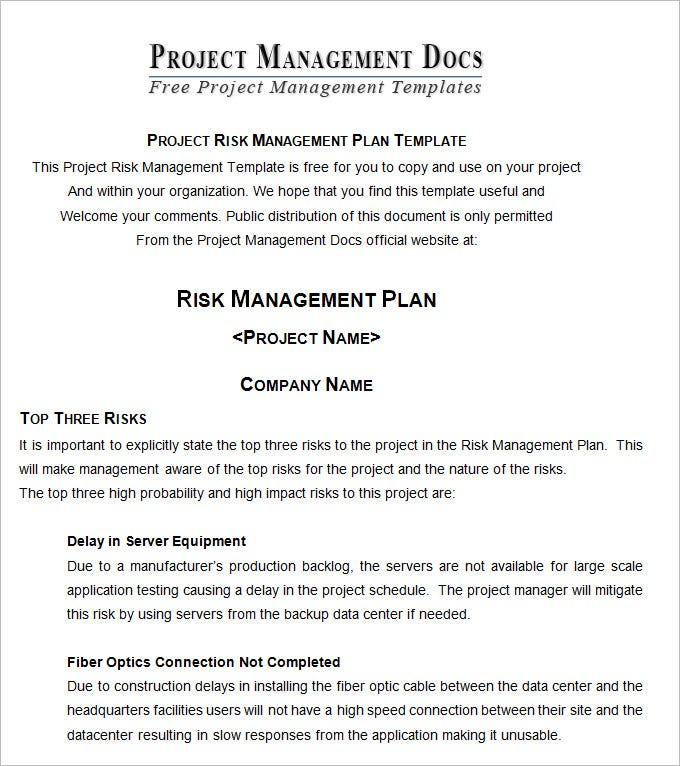 Risk Management Plan  Free Word Documents Download  Free  Premium