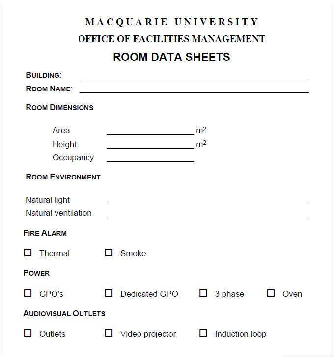 free room data sheet pdf download
