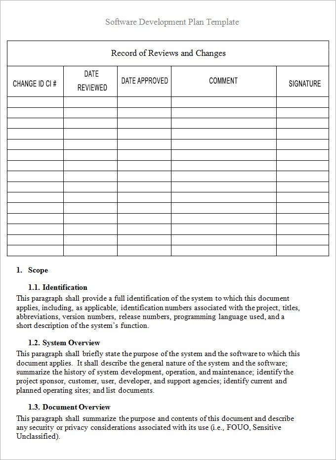 sdlc project plan template - software plan template 7 free word pdf excel