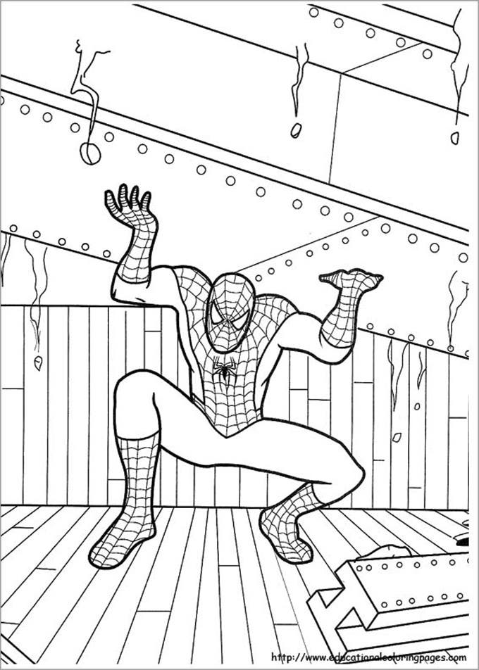 free spiderman colouring page for kids