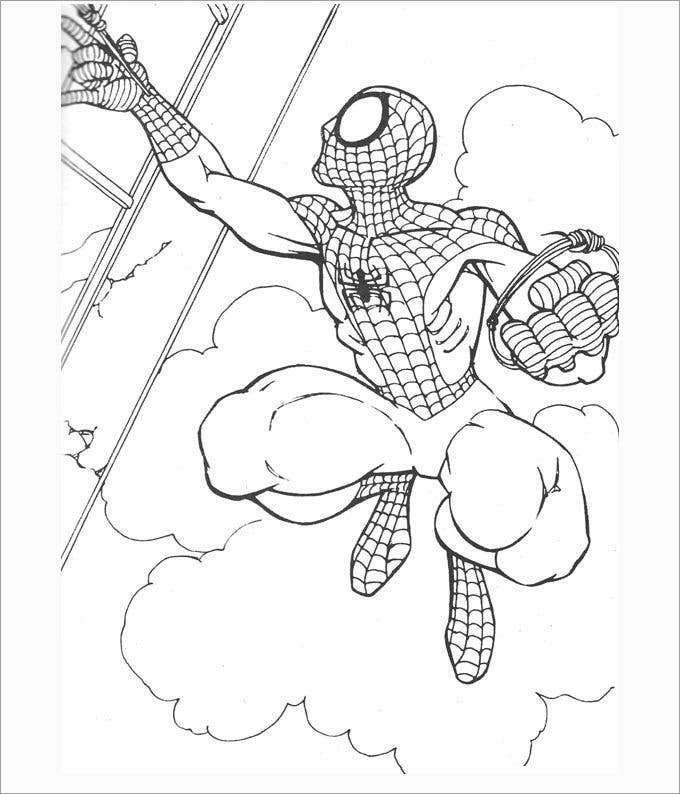 free spiderman colouring page