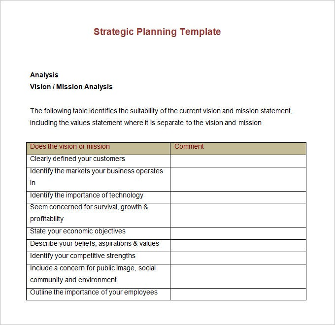 Strategic account plan template 8 free word pdf for Free strategic plan template