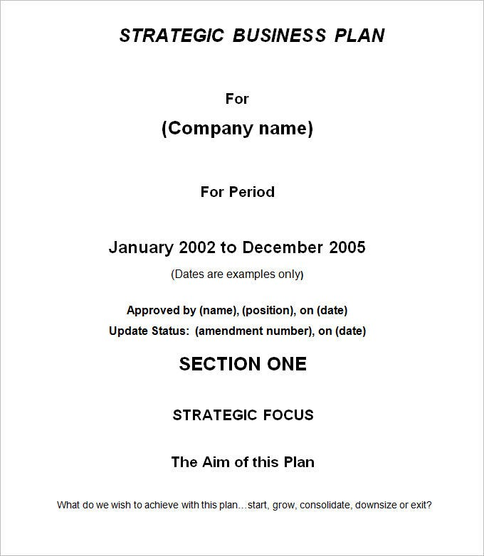 Strategic Business Plan Template   Free Word Documents Download