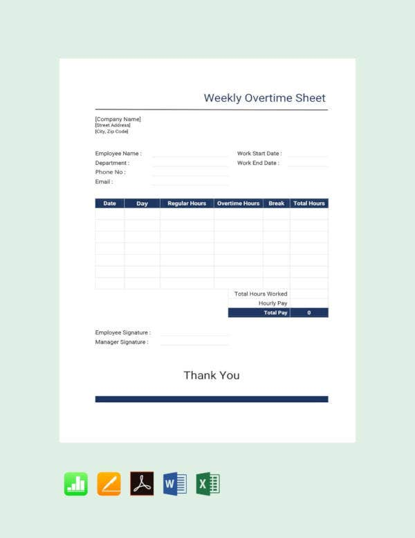 free weekly overtime sheet