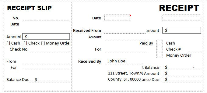 Free Cash Receipt Slip Template  Cash Recepit