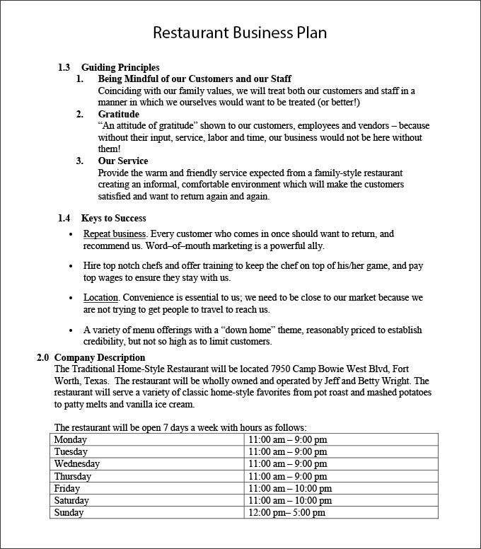 Restaurant business plan template free word pdf