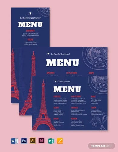 french dinner menu template