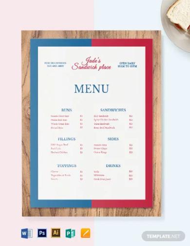 french sandwich sub menu template