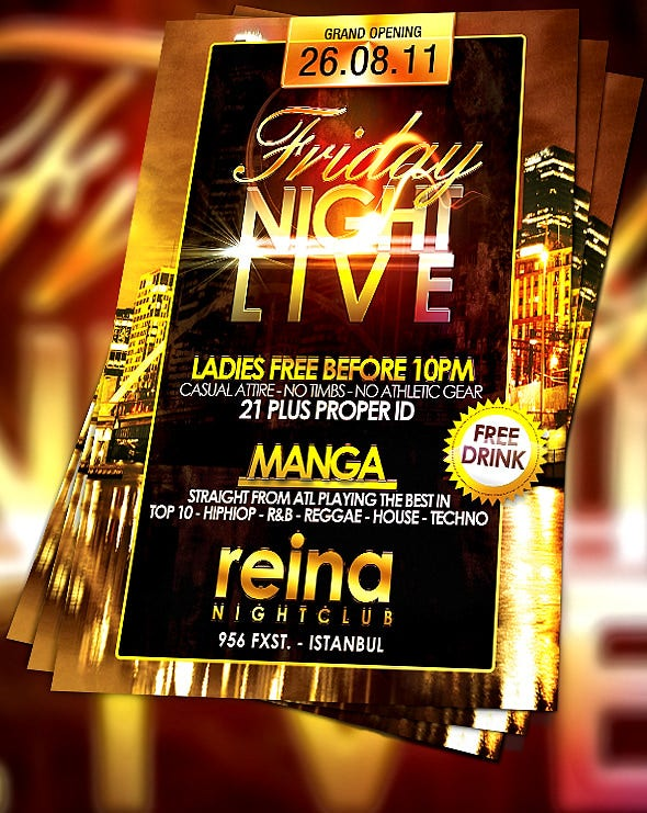 friday night club flyer template