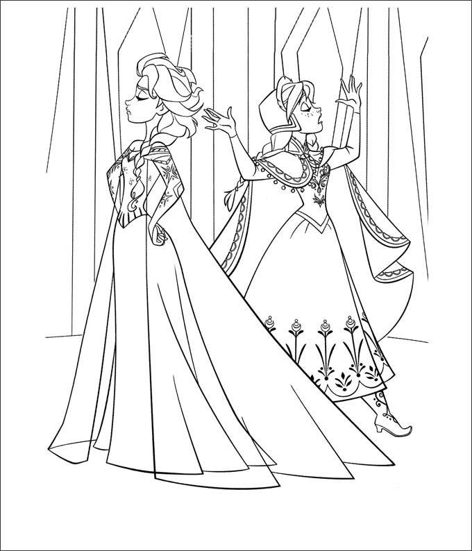 frozen coloring page for kids