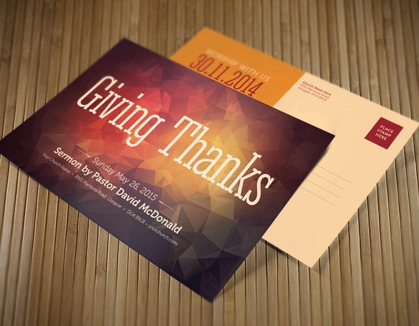 giving thanks postcard flyer template