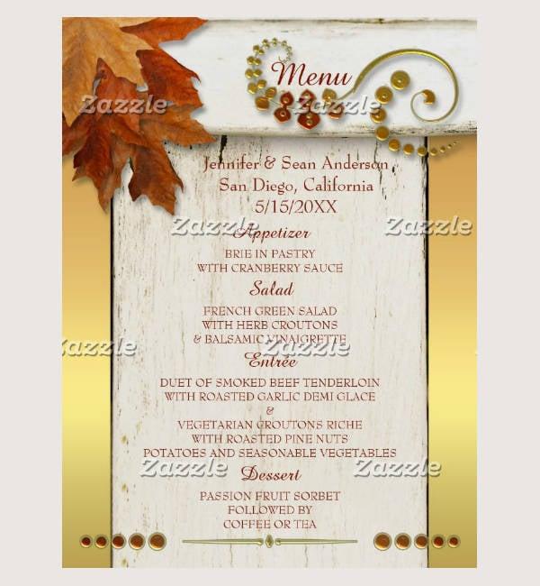 gold fall leaves thanksgiving or wedding menu postcard template