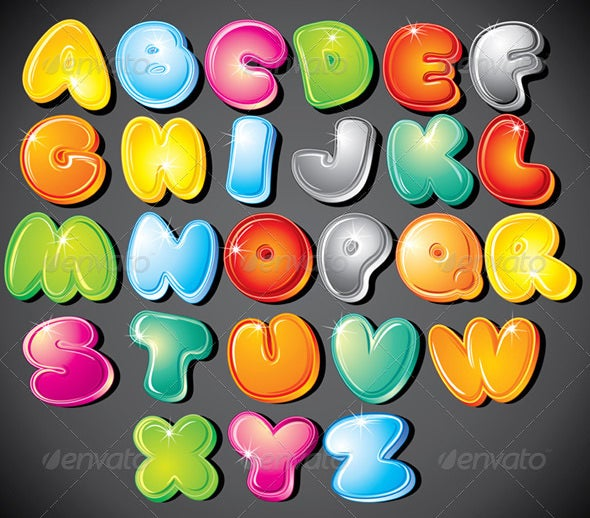 gradient cartoon vector alphabets
