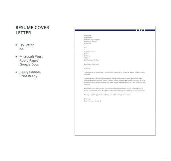 graphic designer resume cover letter template