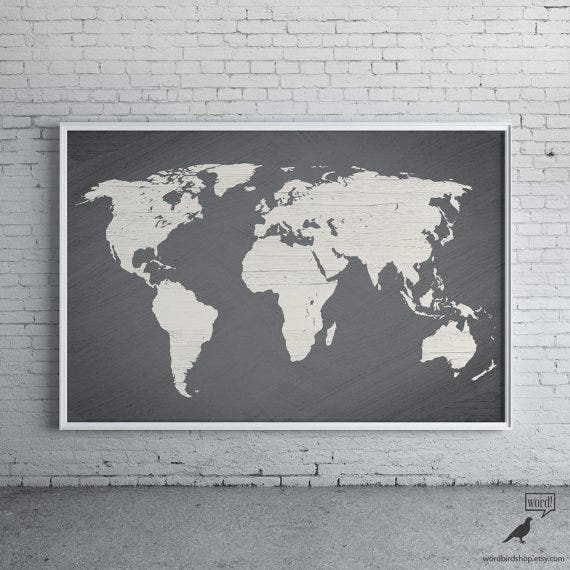 gray colored world map poster