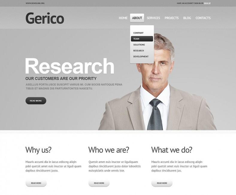 gray management wordpress theme 788x650