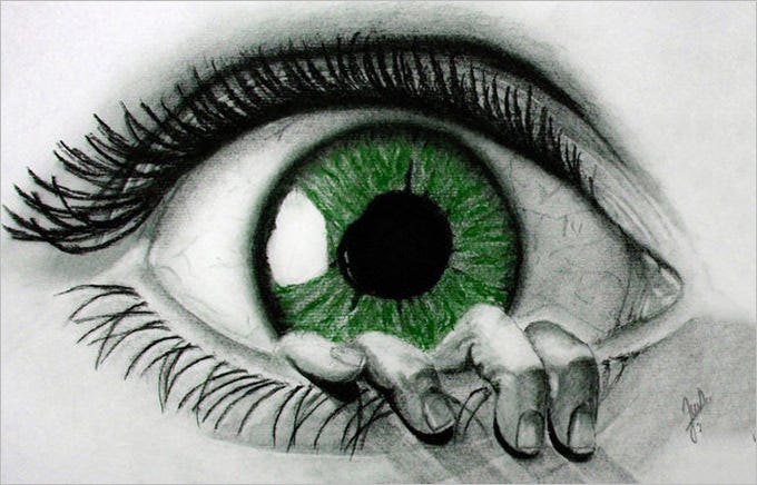 green eye drawing 11